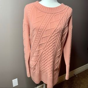 J. Crew light pink cable knit patchwork sweater